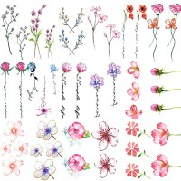 30 Sheets 3D Watercolor Lavender Flower Temporary Tattoos for Women Body Art Arm Fake Flora Adults Tattoo Sticker
