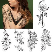 10 Sheets Large 3D Flower Temporary Tattoo, Rose Peony Petal Leaf Sketch Fake Tattoo Sticker for Women Lady Girls, Waterproof Body Art on Arm Shoulder Wrist Clavicle