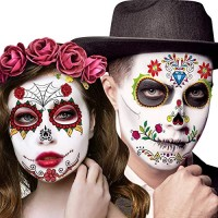 Day of the Dead Face Tattoos, 12 Sheets Halloween Sugar Skull Temporary Costume Makeup Tattoo kit, Floral Black Skeleton Web Red Roses Stickers Decor for Women Men Adult Kids Party Favor gift