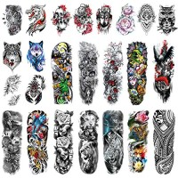 Leoars Temporary Sleeve Tattoos, Extra Large Full ArmTattoos Sleeves and Half Arm Fake Tattoos for Men Women Body Art, 24-Sheet