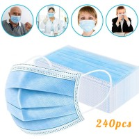 Disposable Face Masks, Earloop Respirator Mask for Personal Health, Anti Pollution Non Woven Safety 3-Layer Mask(240pcs)