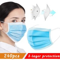 Disposable Face Masks with Elastic Ear Loop 3 Ply Breathable and Comfortable Dust Mask Daily Personal Health Mask(Pack of 240pcs)